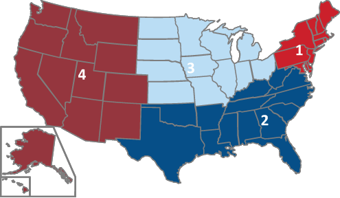 Map of the 4 US Regions