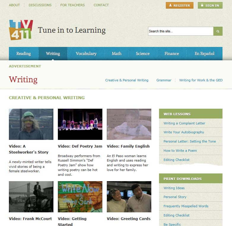 TV 411 Writing