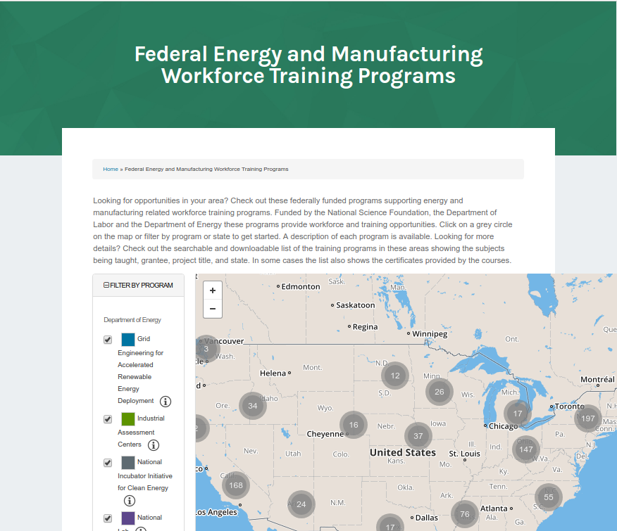 screen capture: Federal Energy and Manufacturing Workforce Training Programs web page