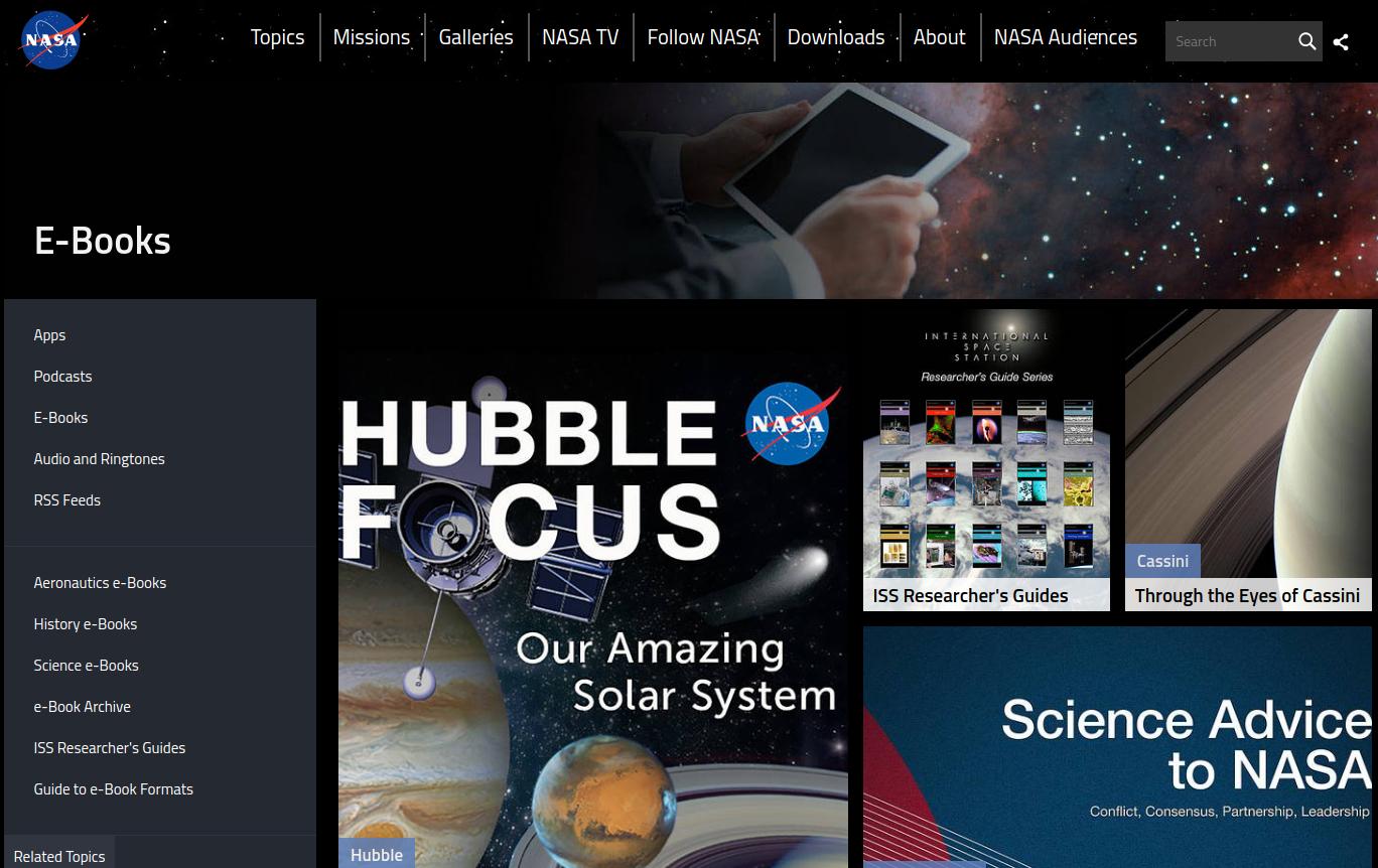 screen capture: NASA science e-books web page