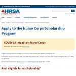 screen capture: Nurse Corps web page