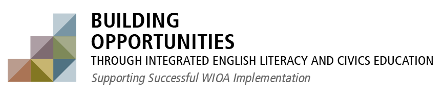 Building Opportunities logo image. Building opportunities through integrated English literacy and Civics Education. Supporting Successful W.I.O.A. Implementation.