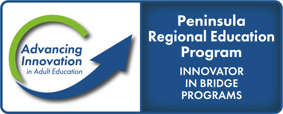 Advancing Innovation in Adult Education Logo, Peninsula Regional Education Program, Innovator in Bridge Programs