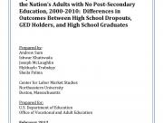 Decorative image for Resource Profile The Labor Force Behaviors, Labor Market Experiences, and Labor Market Outcomes of the Nation's Adults with No Post-Secondary Education, 2000-2010: Differences in Outcomes Between High School Dropouts, GED Holders, and High School Graduates