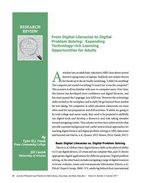 From Digital Literacies to Digital Problem Solving: Expanding Technology-rich Learning Opportunities for Adults