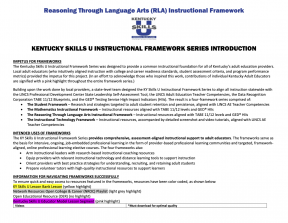 Reasoning Through Language Arts (RLA) Instructional Framework