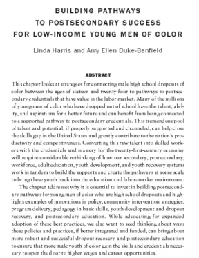 Decorative image for Resource Profile Building Pathways to Postsecondary Success for Low-Income Young Men of Color