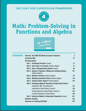 Decorative image for Resource Profile The CUNY HSE Curriculum Framework--Math: Problem-Solving in Functions and Algebra