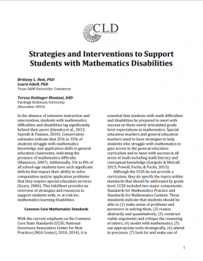 Decorative image for Resource Profile Strategies and Interventions to Support Students with Mathematics Disabilities