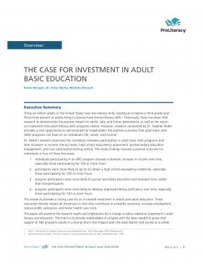 Decorative image for Resource Profile The Case for Investment in Adult Basic Education
