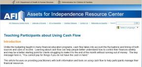 Decorative image for Resource Profile Teaching Participants About Using Cash Flow