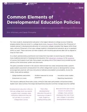 Decorative image for Resource Profile Common Elements of Developmental Education Policies