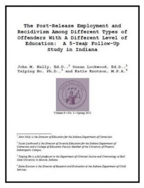 Decorative image for Resource Profile The Post-Release Employment and Recidivism Among Different Types of Offenders With A Different Level of Education: A 5-Year Follow-Up Study in Indiana