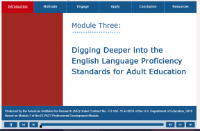 Decorative image for Resource Profile Digging Deeper Into the English Language Proficiency Standards for Adult Education - Module Three