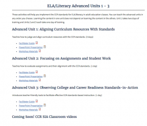 Decorative image for Resource Profile College and Career Readiness Standards English Language Arts/Literacy Advanced Units 1 – 3