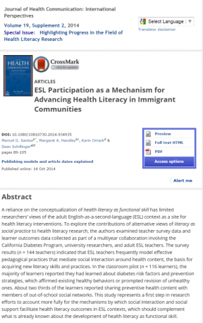Decorative image for Resource Profile ESL Participation as a Mechanism for Advancing Health Literacy in Immigrant Communities