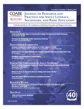 Decorative image for Resource Profile Journal of Research and Practice for Adult Literacy, Secondary, and Basic Education, Vol. 6, No. 1, Spring 2017