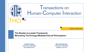 Decorative image for Resource Profile The Reader-to-Leader Framework: Motivating Technology-Mediated Social Participation