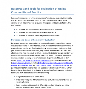 Decorative image for Resource Profile Resources and Tools for Evaluation of Online Communities of Practice
