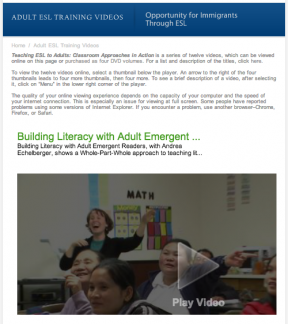 Decorative image for Resource Profile Teaching ESL to Adults: Classroom Approaches in Action - New American Horizons Teacher Training Videos