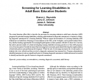 Decorative image for Resource Profile Screening for Learning Disabilities in Adult Basic Education Students