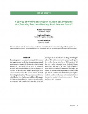 Decorative image for Resource Profile A Survey of Writing Instruction in Adult ESL Programs: Are Teaching Practices Meeting Adult Learner Needs?