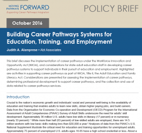 Decorative image for Resource Profile Building Career Pathways Systems for Education, Training, and Employment