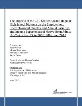 Decorative image for Resource Profile The Impacts of the GED Credential and Regular High School Diploma on the Employment, Unemployment, Weekly and Annual Earnings, and Income Experiences of Native-Born Adults (16-74) in the U.S. in 2000, 2009, and 2010