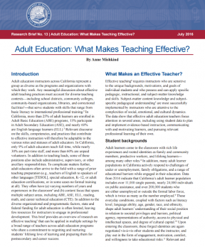 Decorative image for Resource Profile Adult Education: What Makes Teaching Effective?