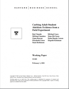 Curbing Adult Student Attrition: Evidence from a Field
