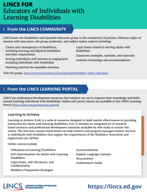 Decorative image for Resource Profile LINCS for Educators of Individuals with Learning Disabilities