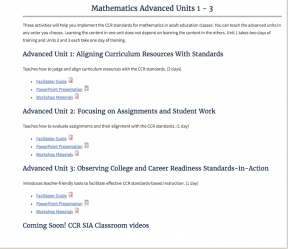 Decorative image for Resource Profile College and Career Readiness Standards Math Advanced Units 1 – 3