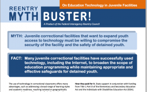 Decorative image for Resource Profile Reentry Mythbuster: On Education Technology in Juvenile Facilities
