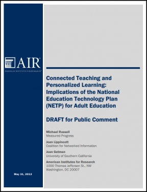 Decorative image for Resource Profile Connected Teaching and Personalized Learning: Implications of the National Education Technology Plan (NETP) for Adult Education