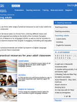 Teaching adults reading resources web page