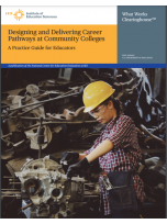 Publication cover page. Photo: A woman wearing a toolbelt, hard hat, and safely glasses performs repairs on a piece of machinery.
