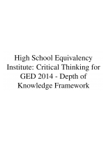 Decorative image for Resource Profile High School Equivalency Institute: Critical Thinking for GED 2014 - Depth of Knowledge Framework